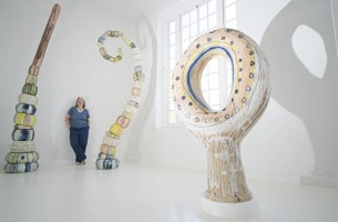 Sandy Brown with her work in The Glove Factory - image copyright Roy Riley (www.royriley.co.uk)