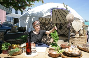 Mice Fabre Lewin with her Deep Soup Ceremony - image copyright Roy Riley (www.royriley.co.uk)